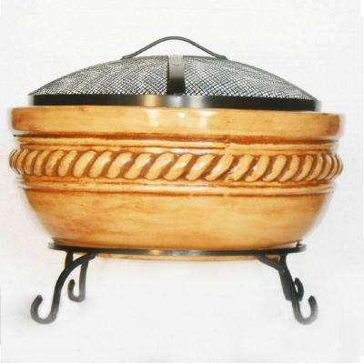 20 in. Clay Fire Pit with Iron Stand