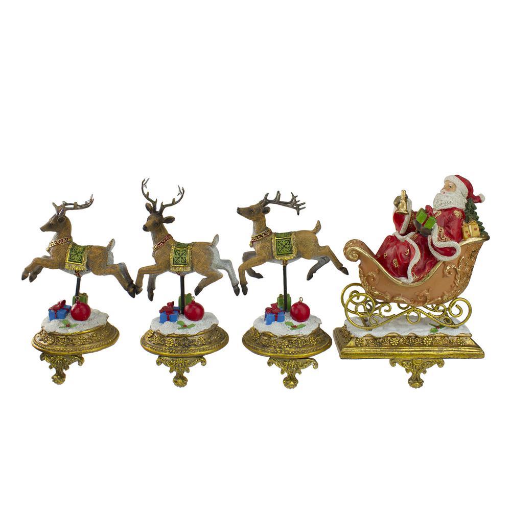 9.5 in. Santa and Reindeer Christmas Stocking Holders (Set of 4)