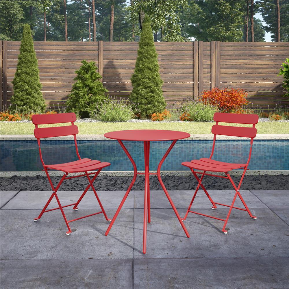3-Piece Steel Outdoor Patio Bistro Set in Red