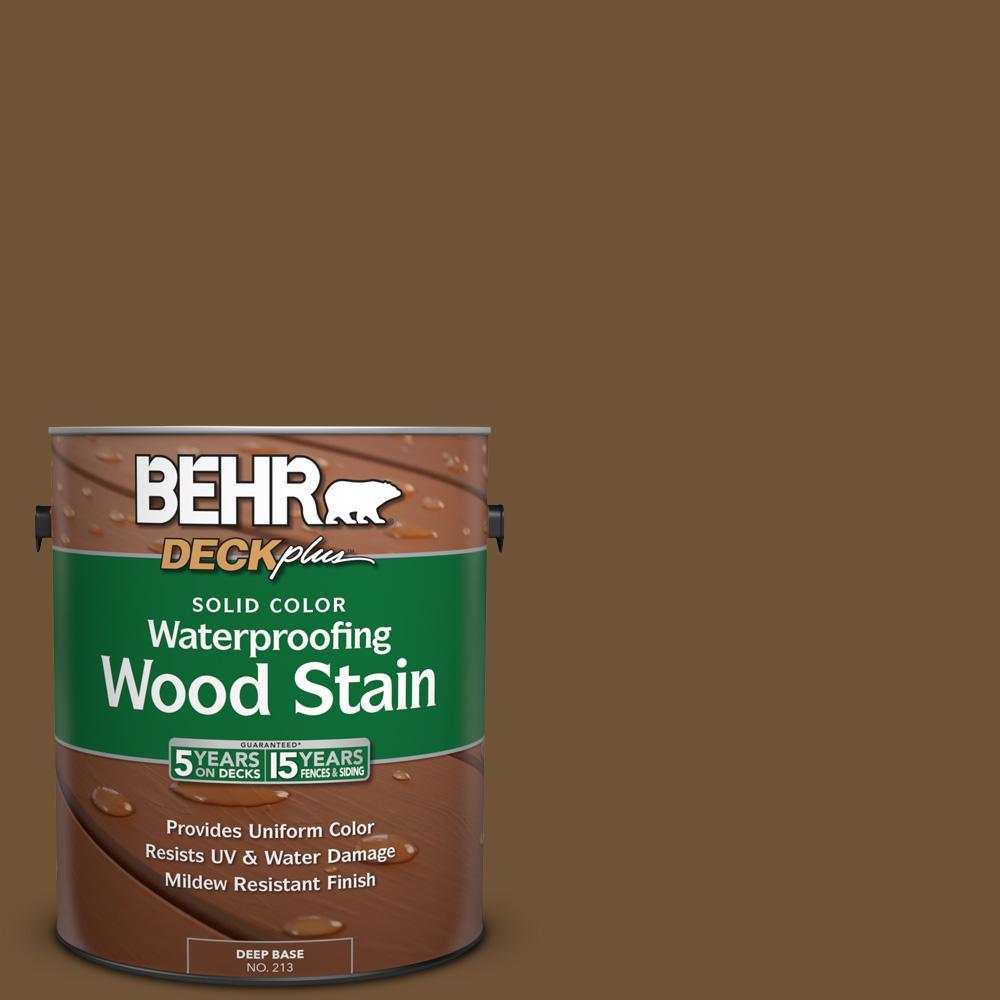 BEHR DECKplus 1 gal. #SC-109 Wrangler Brown Solid Color Waterproofing Wood Stain