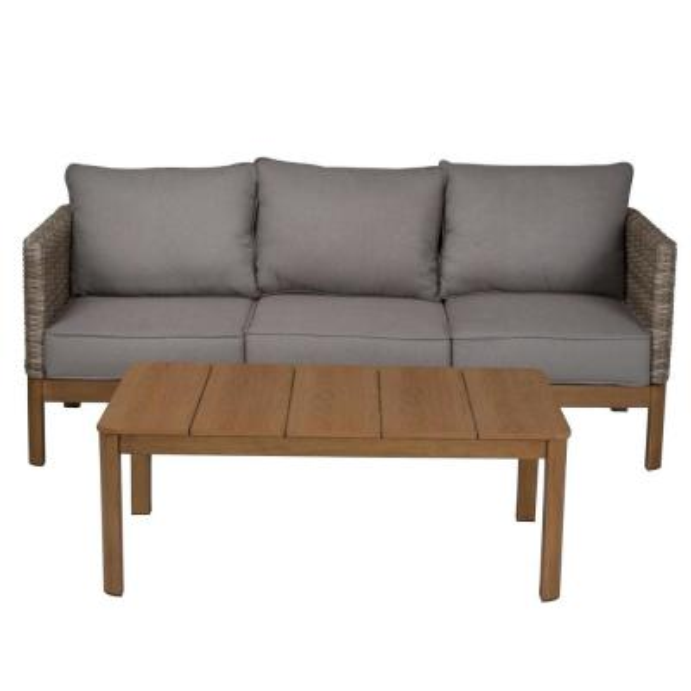 4-Piece Tan Wicker Patio Conversation Set with Gray Cushion