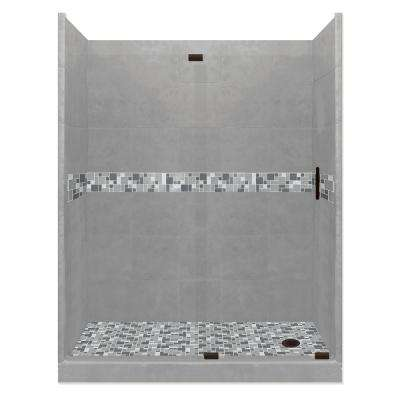 Newport Grand Slider 34 in. x 60 in. x 80 in. Right Drain Alcove Shower Kit in Wet Cement and Black Pipe Hardware