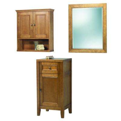 Exhibit 35 in. L x 15 in. W Wall Mirror and Wall Cabinet and Floor Cabinet in Rich Cinnamon
