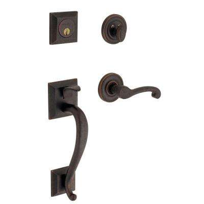 Madison Right-Handed Single Cylinder Distressed Venetian Bronze Door Handleset with Wave Lever