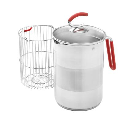 12-Cup Stainless Steel Burner Pot with Glass Lid