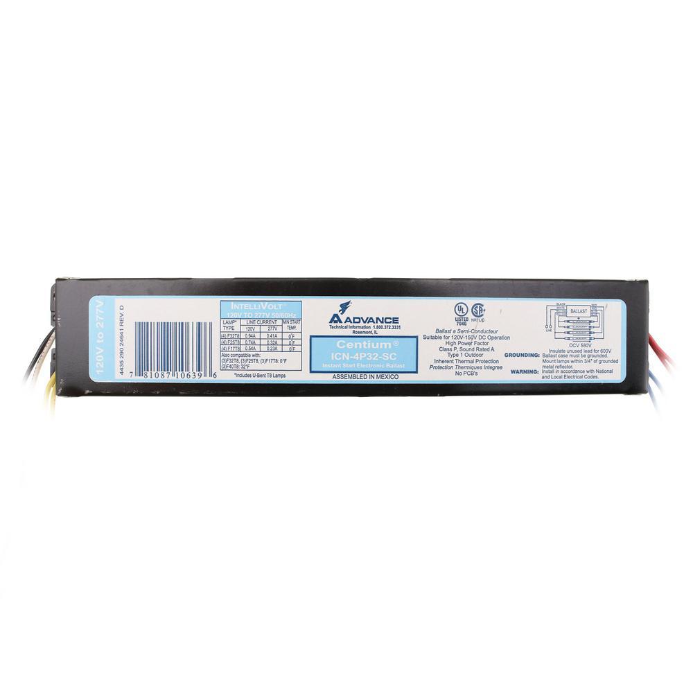 Optanium 120/277-Volt 4-Lamp T8 Instant Start Electronic Fluorescent Replacement Ballast