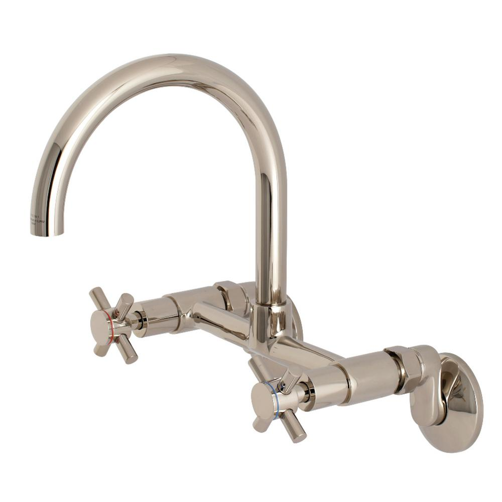 Kingston Br Modern Adjule Center 2 Handle Wall Mount Standard Kitchen Faucet In Polished Nickel