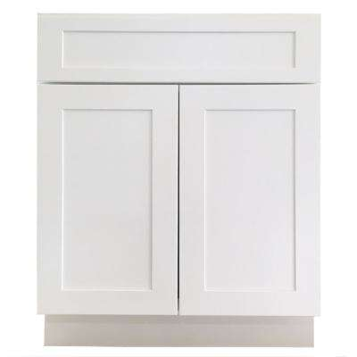 Ready to Assemble 27 in. x 34.5 in. x 24 in. Shaker Base Cabinet with 2 Doors and 1 Drawer in White