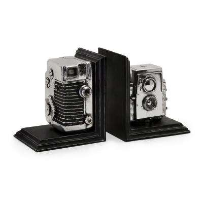 Vintage Silver Camera Bookends (Set of 2)