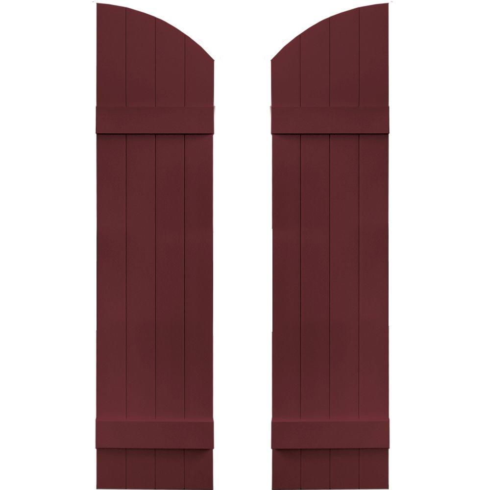 Builders Edge 14 in. x 53 in. Board-N-Batten Shutters Pair, 4 Boards Joined with Arch Top #078 Wineberry
