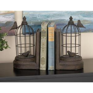 10 inch x 6 inch Polystone and Iron Birdcage Bookend by
