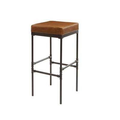 Powell 29 in. Distressed Brown Pipe Fitting Upholstered Barstool