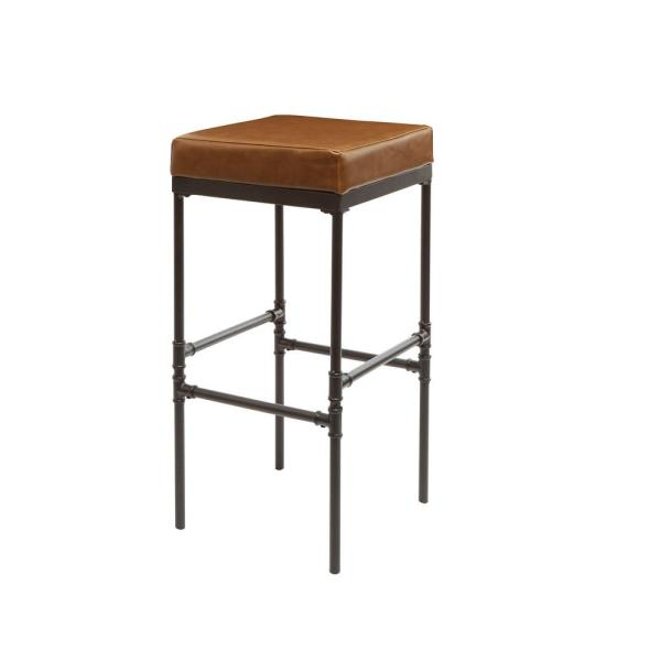 Silverwood Furniture Reimagined Powell 29 In Distressed Brown Pipe Ing Upholstered Barstool