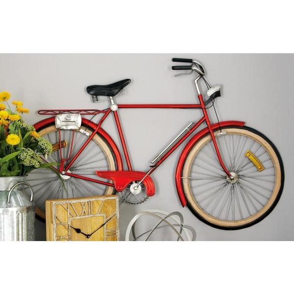 Metal Red Bicycle Wall Decor 65536