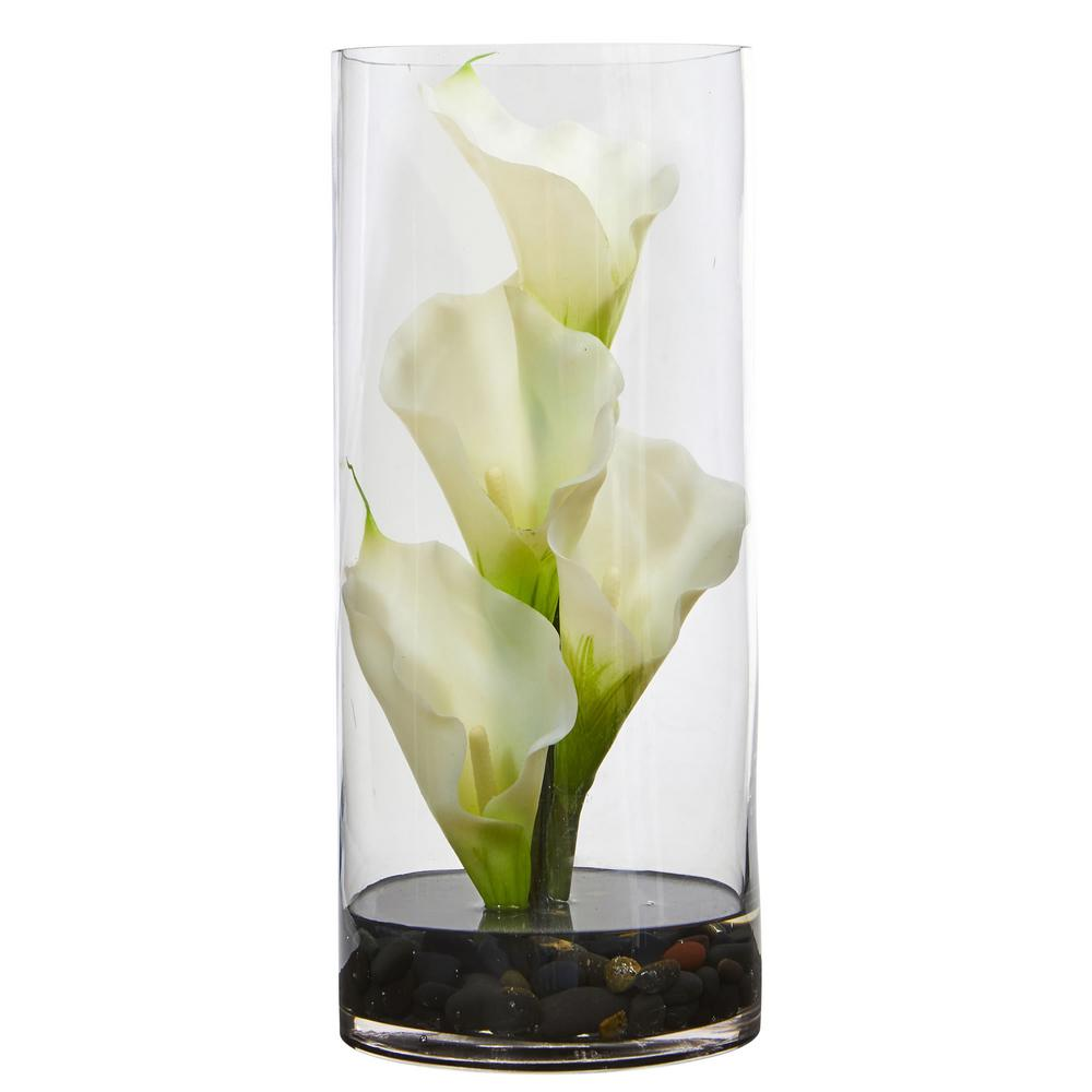 c2ab98cd8a1 Nearly Natural Calla Lily Artificial Arrangement in Cylinder Glass Vase