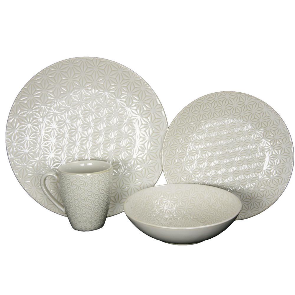 Elama Ivory Terrace 16-Piece White Textured Dinnerware Set 98597266M