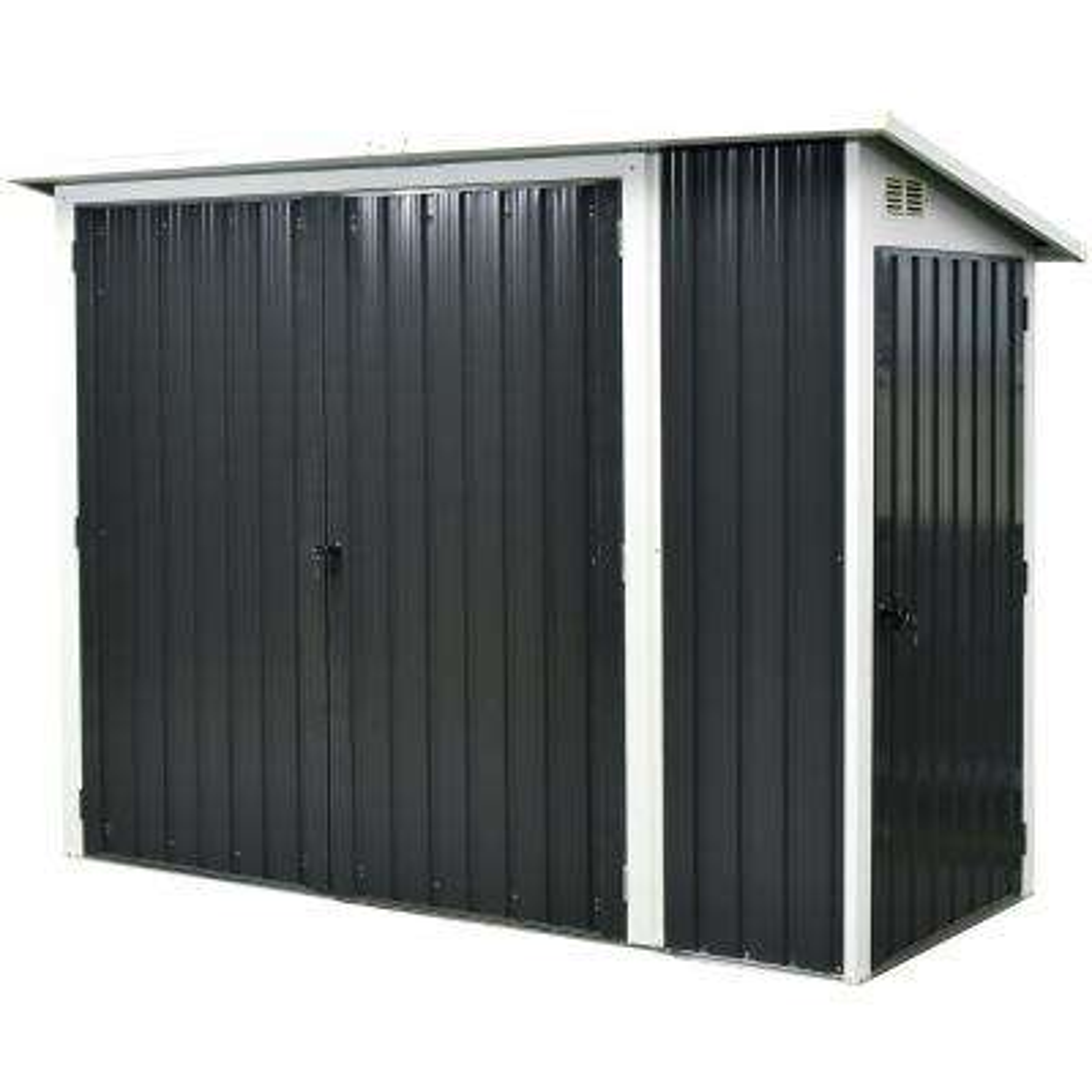 Multi-Use Dark Grey Shed with Storage