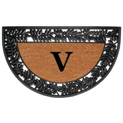 Wrought Iron Olive Border 22 in. x 36 in. Rubber/Coir Half Round Monogrammed V Door Mat