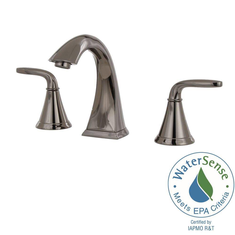 Pasadena 8 in. Widespread 2-Handle High-Arc Bathroom Faucet in Midnight Chrome