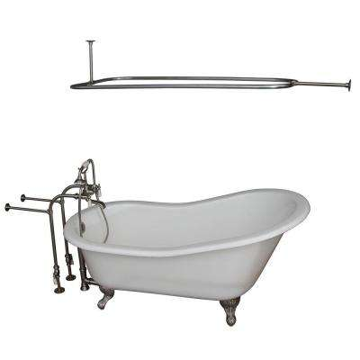 5 ft. Cast Iron Ball and Claw Feet Slipper Tub in White with Brushed Nickel Accessories