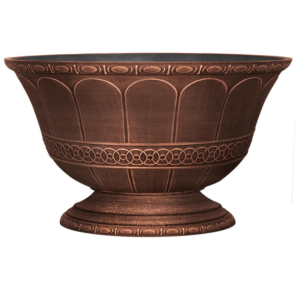 Scalloped Flare 15 in. Warm Copper Plastic Low Urn