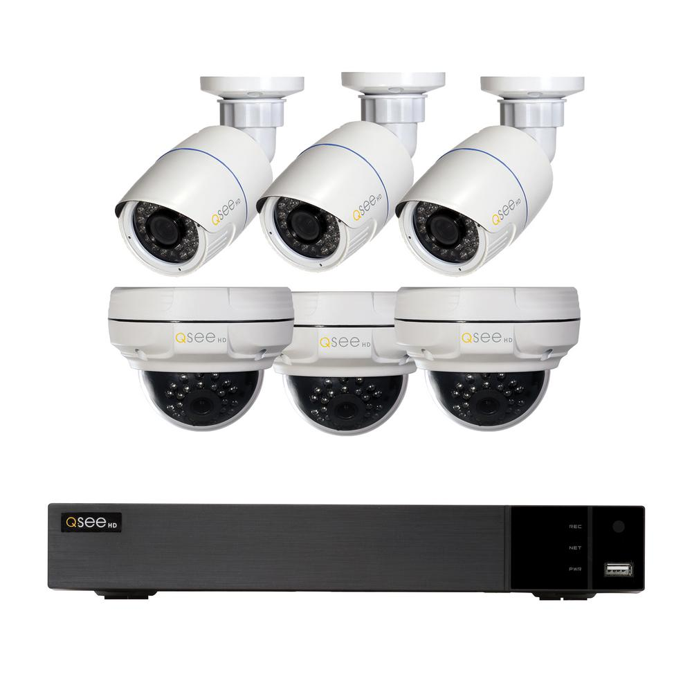 Q-SEE 8-Channel 4MP IP Indoor/Outdoor Surveillance 2TB NVR System with (3)  4MP Dome Cameras and (3) 4MP Bullet Cameras
