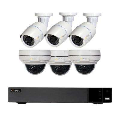 8-Channel 5MP IP Indoor/Outdoor Surveillance 2TB NVR System with (3) 5MP Bullet Cameras and (3) 4MP Dome Cameras
