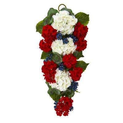 26 in. Unlit Artificial Holiday Swag with Geranium and Blue Berry