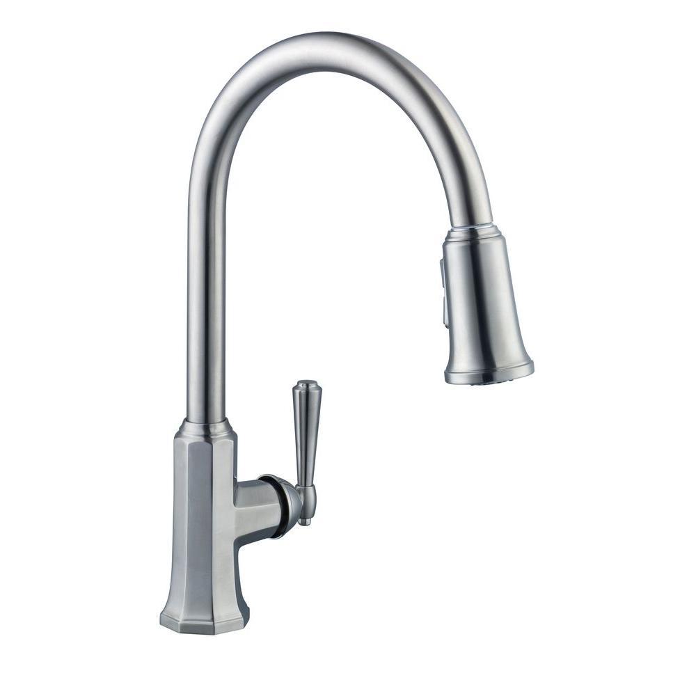 Glacier Bay Sentio Single-Handle Pull-Down Sprayer Kitchen Faucet in ...