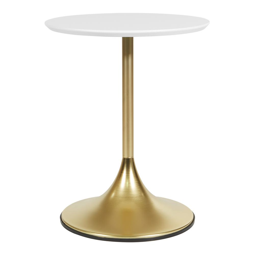 OSP Home Furnishings Flower Side Table with White Top and Brass Base, White/Brass OSP Home Furnishings Flower Side Table with White Top and Brass Base, White/Brass.