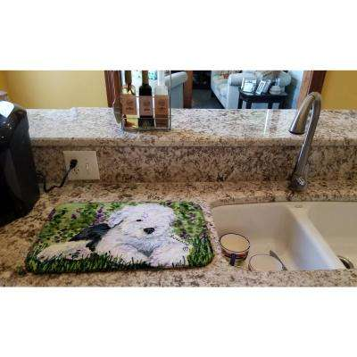 14 in. x 21 in. Multicolor Old English Sheepdog Dish Drying Mat