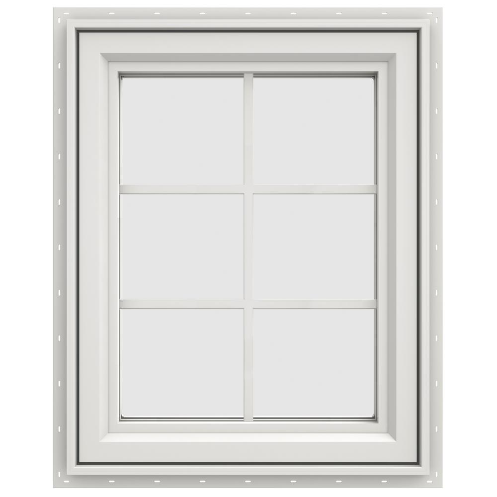 jeld wen 23 5 in x 29 5 in v 4500 series right hand casement vinyl window with grids white. Black Bedroom Furniture Sets. Home Design Ideas