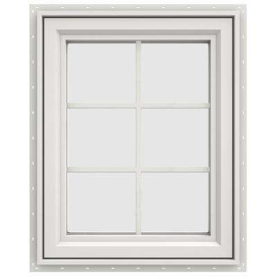 23.5 in. x 35.5 in. V-4500 Series White Vinyl Left-Handed Casement Window with Colonial Grids/Grilles
