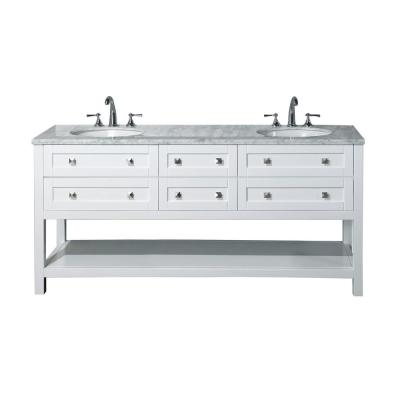 Marla 72 in. W x 22 in. D Vanity in White with Marble Vanity Top in White with White Basins