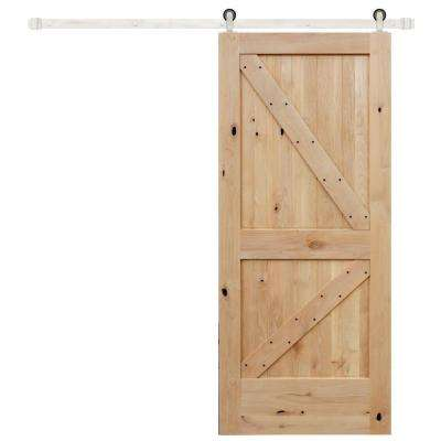 42 in. x 84 in. Rustic Unfinished 2-Panel Right Knotty Alder Wood Barn Door with Stainless Sliding Door Hardware Kit