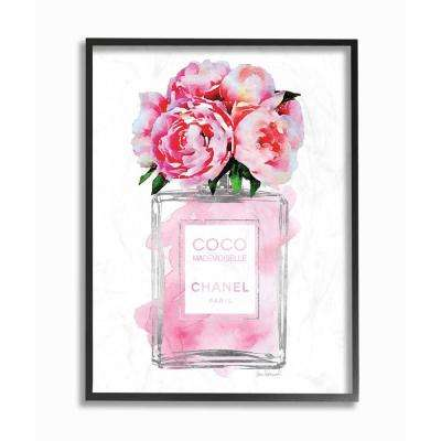 """16 in. x 20 in. """"Glam Perfume Bottle V2 Flower Silver Pink Peony"""" by Amanda Greenwood Wood Framed Wall Art"""