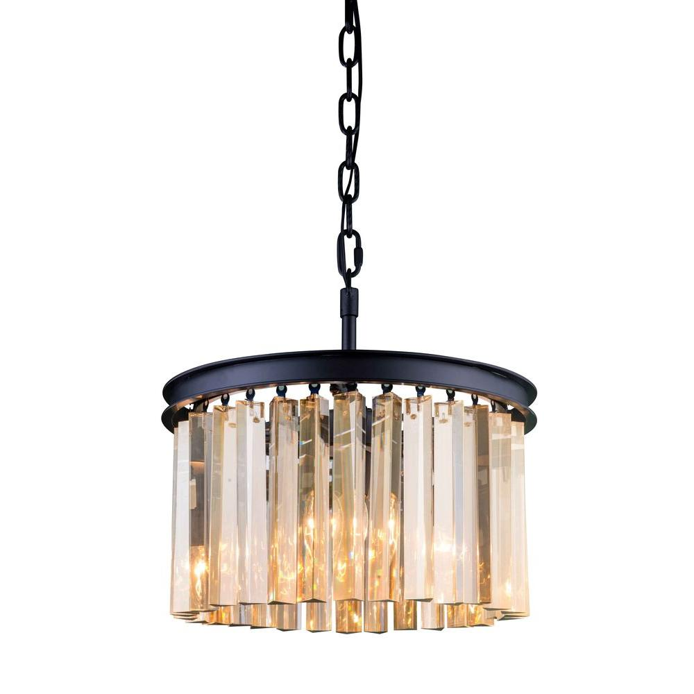 Elegant Lighting Sydney 3-Light Mocha Brown Chandelier