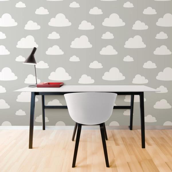 Nuwallpaper Grey Clouds Peel And Stick Grey Vinyl Strippable Roll Covers 30 75 Sq Ft Nu1931 The Home Depot
