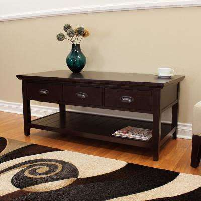 Lindendale 47.75 in. Rectangular 3-Drawer Espresso Coffee Table