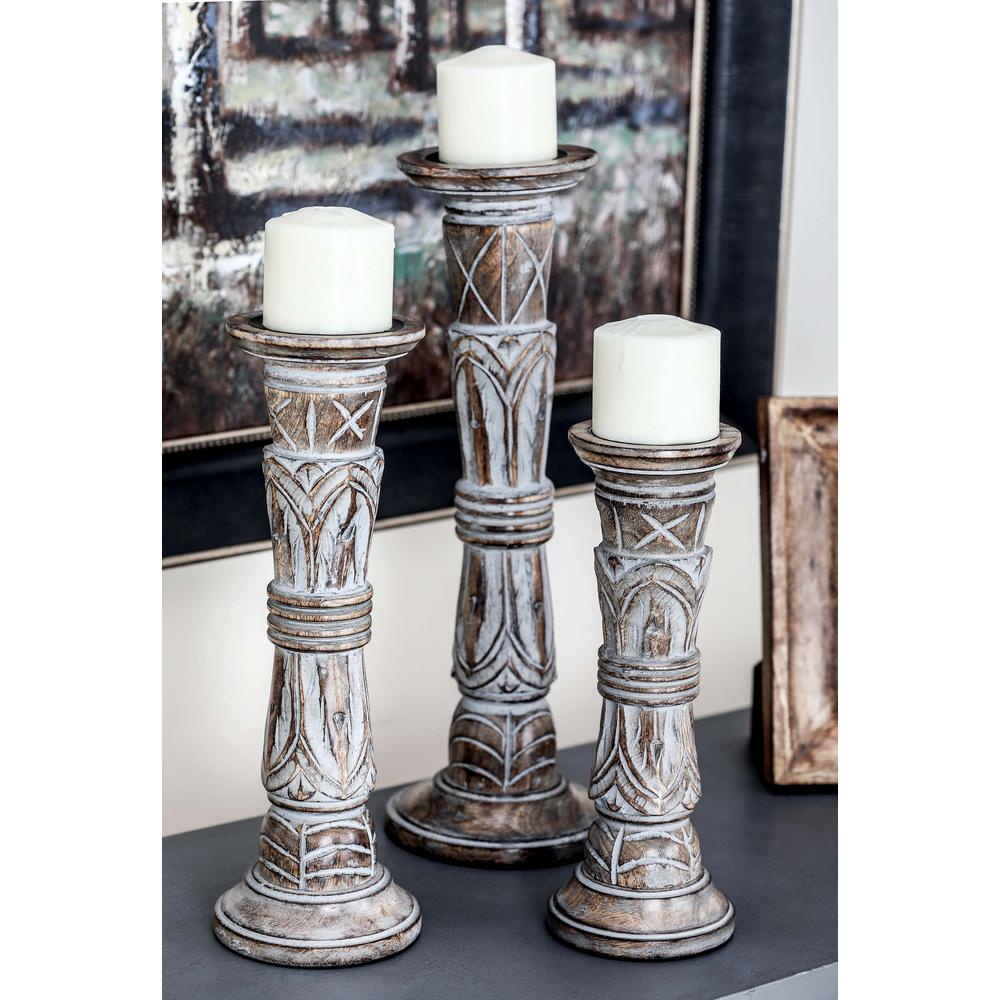 Litton Lane Rustic Brown Carved Mango Wood Candle Holder Set Of 3