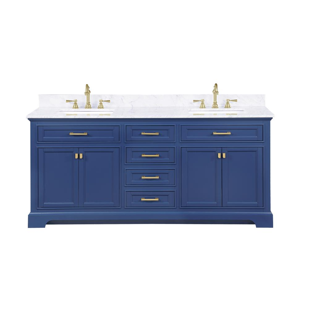 Design Element Milano 72 in. W x 22 in. D Bath Vanity in Blue with Carrara Marble Vanity Top in White with White Basin