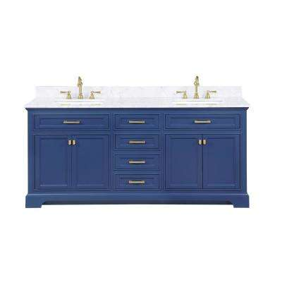 Milano 72 in. W x 22 in. D Bath Vanity in Blue with Carrara Marble Vanity Top in White with White Basin