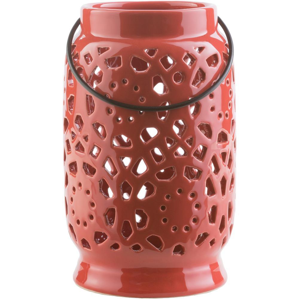 Kimba 9.4 in. Terracotta Ceramic Lantern