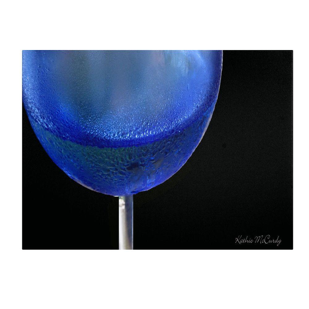 30 in. x 47 in. Blue Wine Glass Canvas Art
