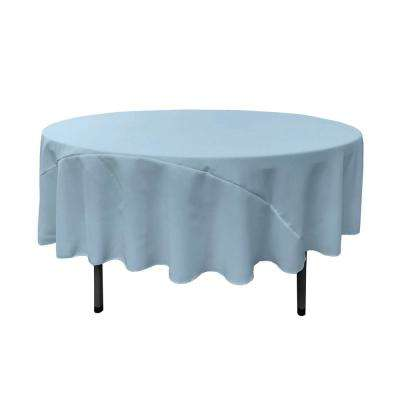90 in. Round Light Blue Polyester Poplin Tablecloth