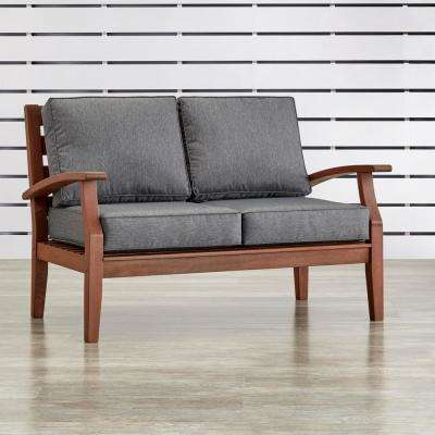 Verdon Gorge Brown Oiled Wood Outdoor Loveseat with Gray Cushions