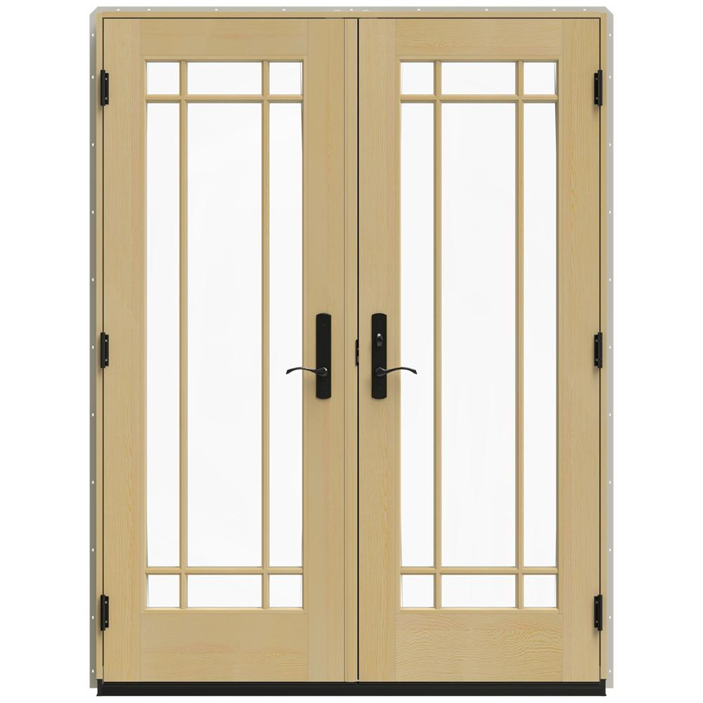 Jeld Wen 60 In X 80 In W 4500 Desert Sand Clad Wood Left Hand 9 Lite French Patio Door W