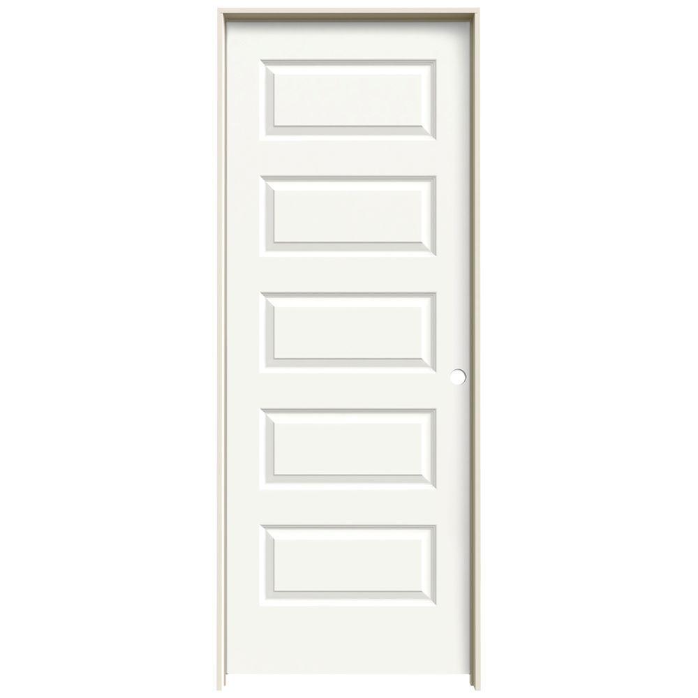 28 in. x 80 in. Rockport White Painted Left-Hand Smooth Molded