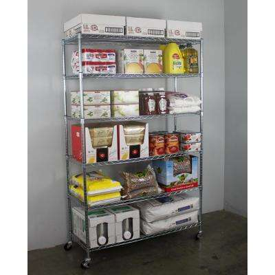 72 in. H x 48 in. W x 18 in. D NSF 6-Tier Wire Chrome Shelving Rack with Wheels