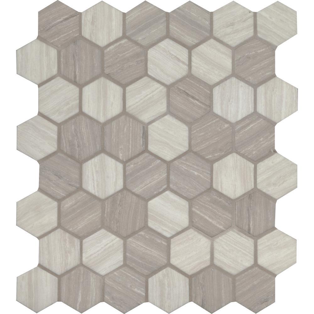 Silva Oak Hexagon 12.75 in. x 11.02 in. x 6mm Glass Mesh-Mounted Mosaic Tile (14.70 sq. ft. / case)